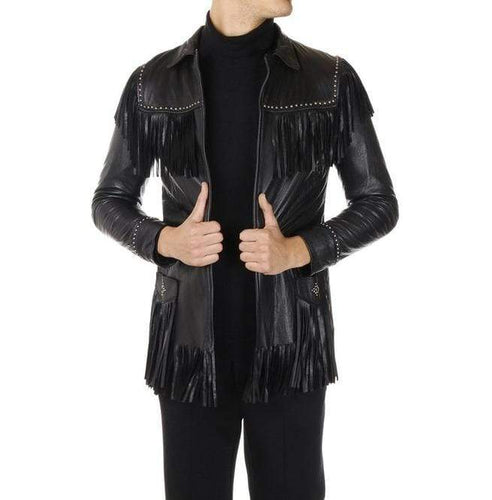 Men's Western Leather Jacket Wear Fringes Beads Native American Cowboy Black Coat - leathersguru