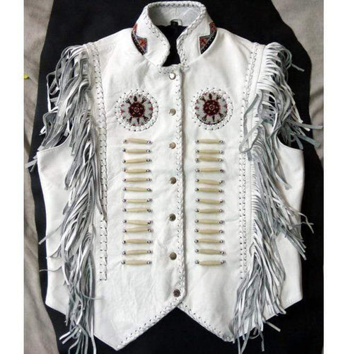 Western Leather Jacket, Handmade White Cowboy Fringe Leather Jacket - leathersguru