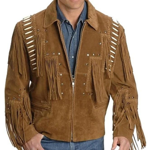 Men's Western Suede Jacket, Brown Fringe Cowboy Jacket - leathersguru