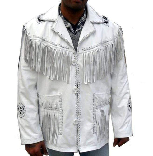 Men's Western Leather Jacket, Handmade Cowboy White Fringe Jacket - leathersguru