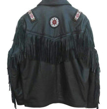 Load image into Gallery viewer, Western Leather Jacket, Black Cowboy Leather Fringe Jacket - leathersguru