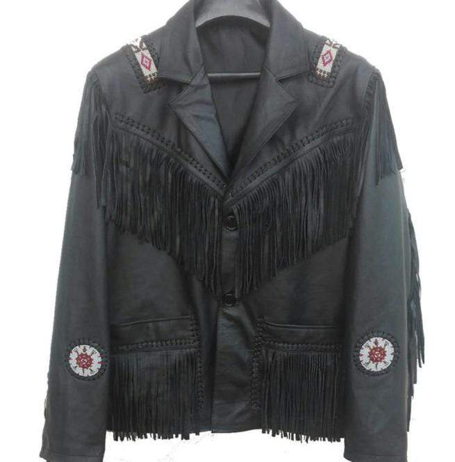 Western Leather Jacket, Black Cowboy Leather Fringe Jacket - leathersguru