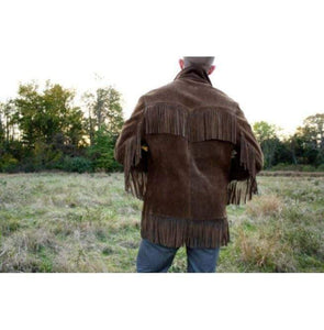 Men's Western Suede Jacket, Dark Brown Cowboy Suede Fringe Jacket - leathersguru
