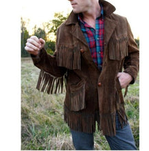 Load image into Gallery viewer, Men's Western Suede Jacket, Dark Brown Cowboy Suede Fringe Jacket - leathersguru