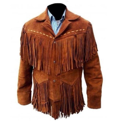 Men's Western Suede Jacket, Tan Color Cowboy Suede Fringe Jacket - leathersguru