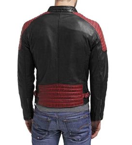 Men black Red leather jacket, Motorbike Designer Leather For Men - leathersguru