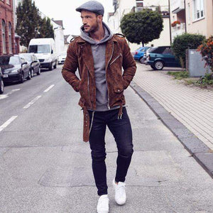 Men's brown suede biker jacket, Men's biker Suede Belted jacket - leathersguru