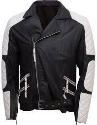 Men Black & White Leather Jacket ,Stylish Leather Zipper Jacket