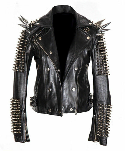 Men Silver Studded Long Spiked Jacket Leather Black Rock Punk Style Jacket - leathersguru