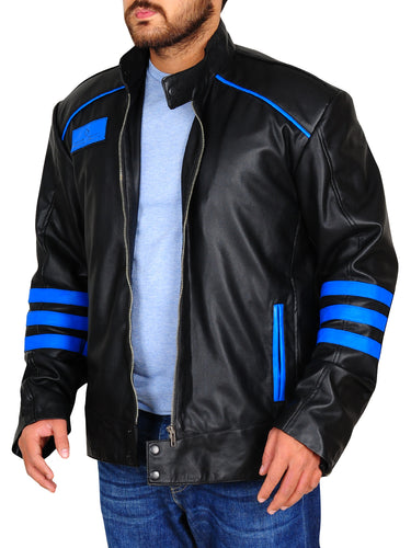 Men Two Tone Black Biker Blue Racing Striped Motorbike Genuine Leather Handmade Jacket