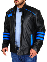 Load image into Gallery viewer, Men Two Tone Black Biker Blue Racing Striped Motorbike Genuine Leather Handmade Jacket