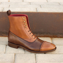 Load image into Gallery viewer, Men,s Handmade Brown Tan Ankle Boots, Men,s Lace up Ankle Boot, Men Leather Boot