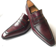Load image into Gallery viewer, Men's Handmade Maroon Leather formal shoes Slip Ones Slippers