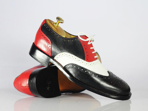 Men's Handmade Multi Color Wing Tip Brogue Shoes, Men Leather Lace Up Shoes