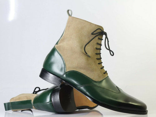 Bespoke Beige Green Wing Tip Lace Up Boots for Men - leathersguru