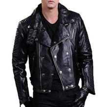 Load image into Gallery viewer, Men's Biker Leather Jacket, Men's Fashion Black Motorcycle Zipper Studs Jacket - leathersguru
