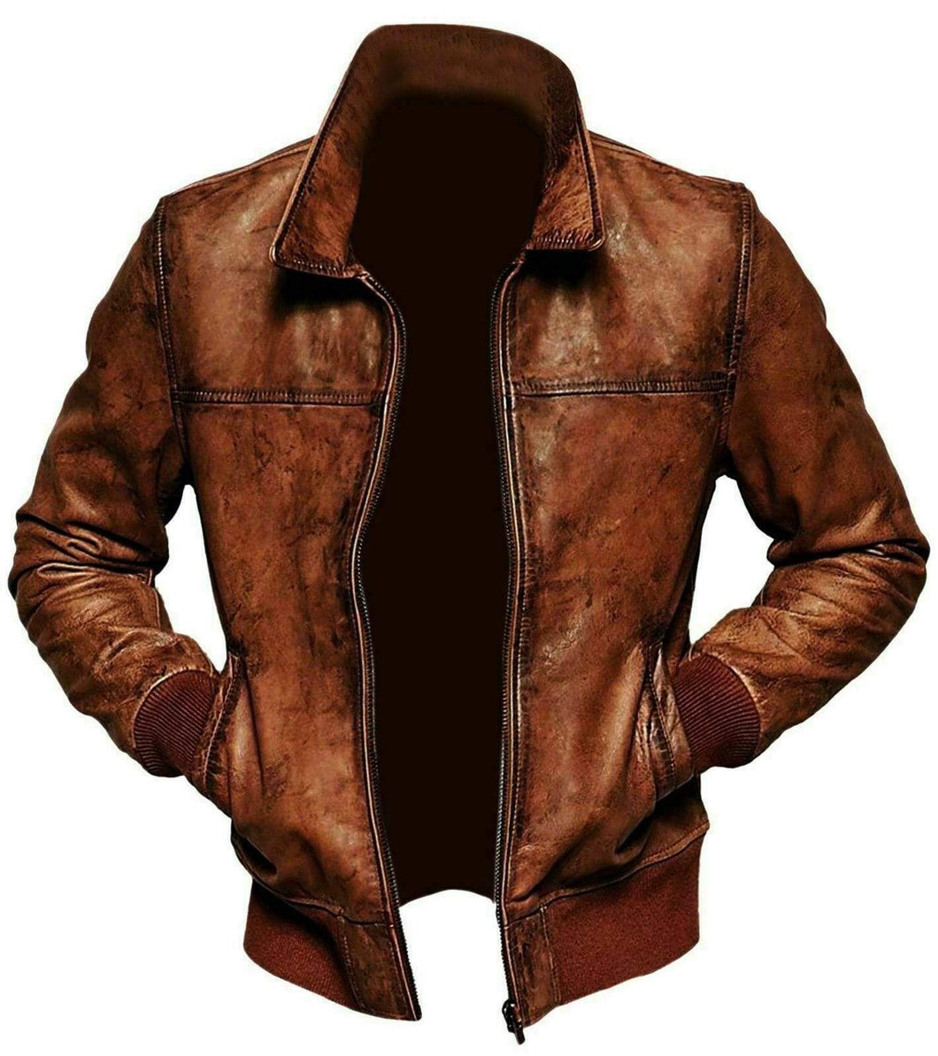 Mens Vintage Distressed Brown Bomber Winter Leather Biker Jacket - leathersguru