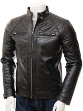 Load image into Gallery viewer, Men's Black Biker Leather Jacket, Handmade Genuine fashion biker jacket - leathersguru