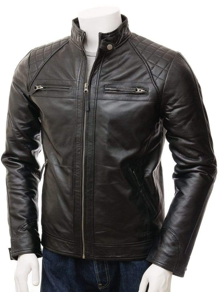 Men's Black Biker Leather Jacket, Handmade Genuine fashion biker jacket - leathersguru