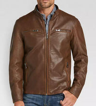 Load image into Gallery viewer, Men's Brown Modern Fit Moto Leather Jacket, Designer Biker Fashion Genuine Leather Jacket - leathersguru