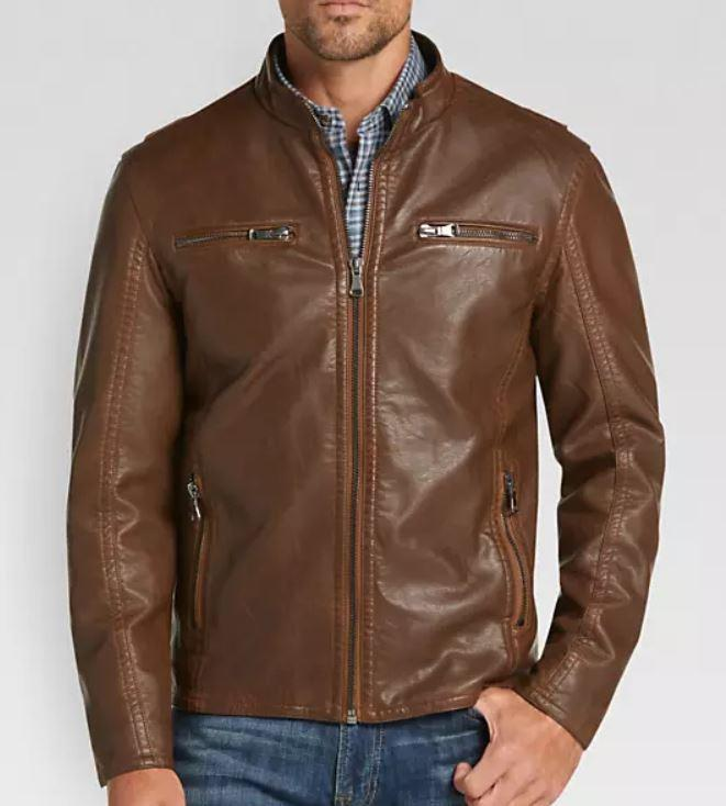 Men's Brown Modern Fit Moto Leather Jacket, Designer Biker Fashion Genuine Leather Jacket - leathersguru