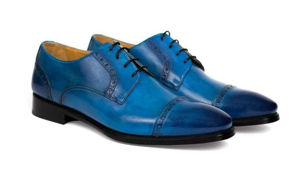 Men's Blue Leather Cap Toe Lace Up Shoes - leathersguru