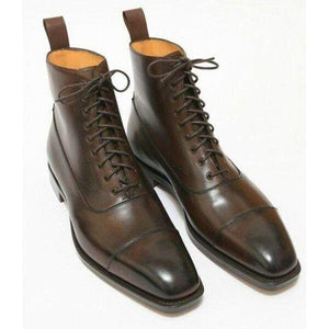 Handmade Two Tone Brown Cap Toe Lace Up Boot - leathersguru