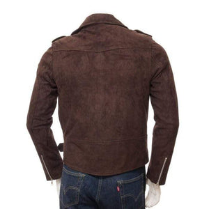 Men's Brown Suede Biker Motorcycle Fashion Belted Jacket - leathersguru