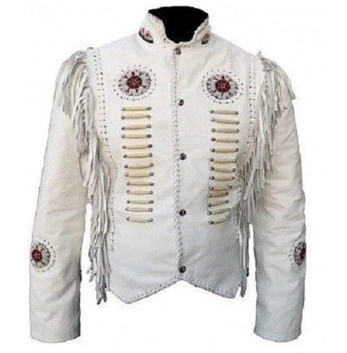 Men's Cowboy Leather Jacket Western Coat Fringes Beads White Jacket - leathersguru