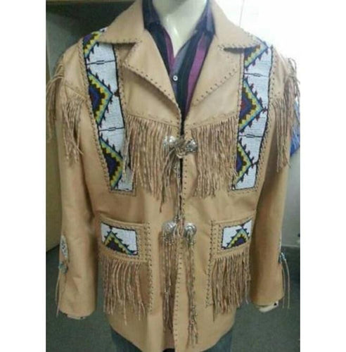 Men's Cowboy Leather Jacket Western Coat Fringes, Beige Color Cowboy Jacket For Men - leathersguru