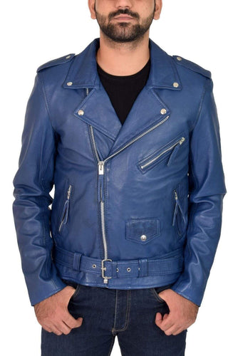Genuine Blue Lambskin Leather Jacket Slim Fit Biker Motorcycle jacket - leathersguru