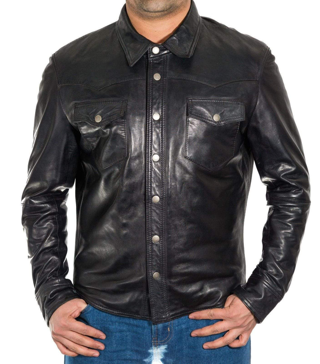 Men's Genuine Black Lambskin Leather Shirts Slim fit Police Military Style Shirt - leathersguru