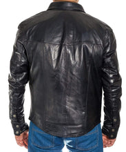 Load image into Gallery viewer, Men's Genuine Lambskin Leather Shirts Slim fit Police Military Style Jacket - leathersguru
