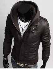 Load image into Gallery viewer, Men's Leather Dark Brown Jackets Korean Style Casual Slim Fit Men fabric hooded jacket - leathersguru