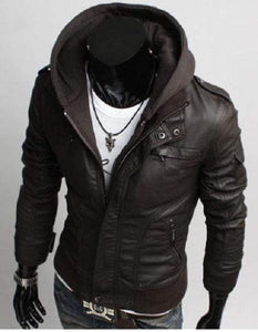 Men's Leather Dark Brown Jackets Korean Style Casual Slim Fit Men fabric hooded jacket - leathersguru