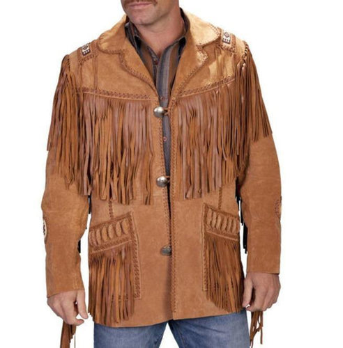 Men's New Tan Brown Western Suede Cow Leather Jacket Fringes, Cowboy Jacket - leathersguru