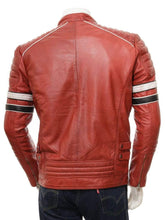 Load image into Gallery viewer, Men's Red Color Black White Striped Leather Biker Jacket, Men genuine leather jacket for men - leathersguru