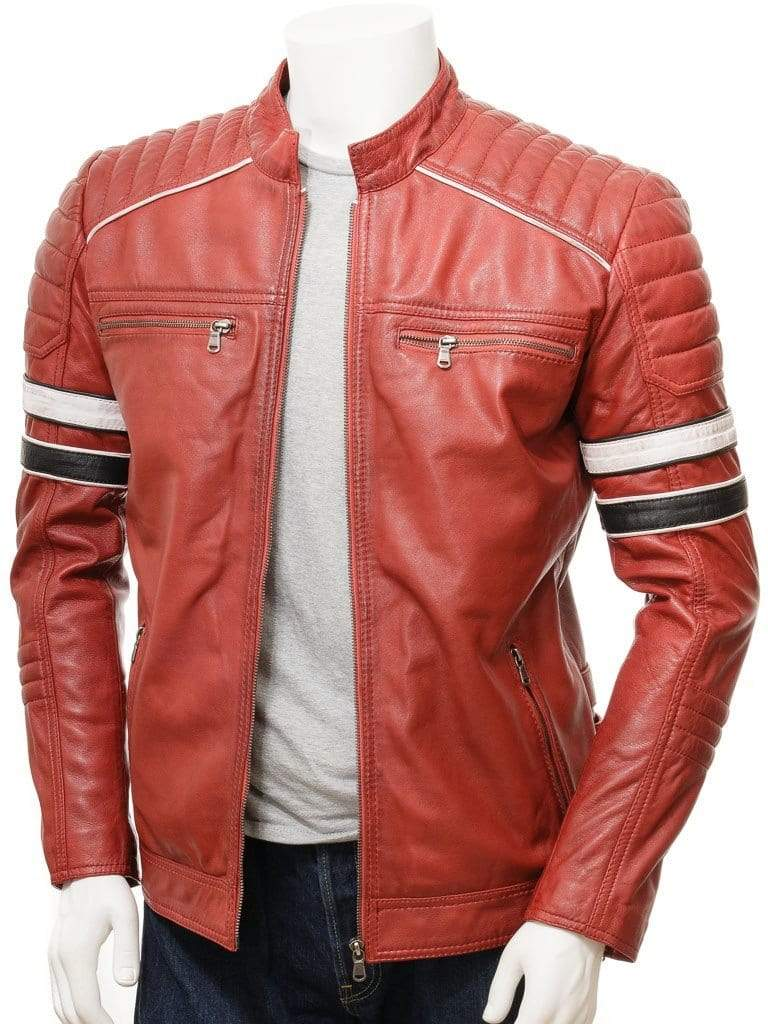 Men's Red Color Black White Striped Leather Biker Jacket, Men genuine leather jacket for men - leathersguru