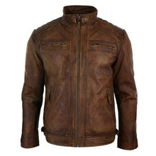 Load image into Gallery viewer, Men's Retro Style Zipped Biker Jacket Real Leather Soft Brown Casual Jacket - leathersguru