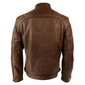 Men's Retro Style Zipped Biker Jacket Real Leather Soft Brown Casual Jacket - leathersguru