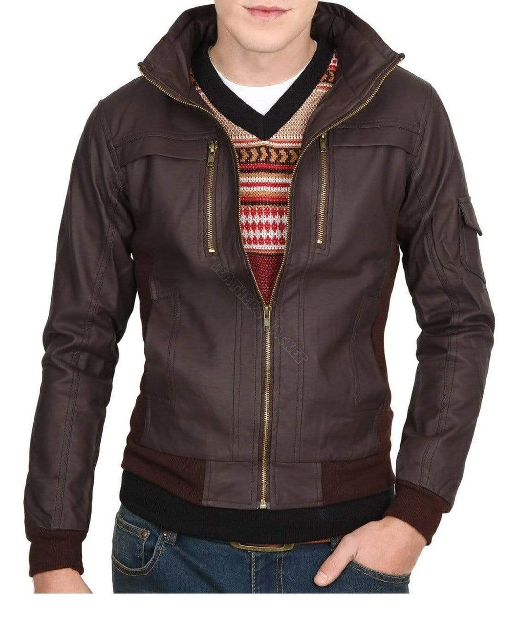 Mens Slim Leather Jacket, Brown Biker Leather Jacket, Zipper Pocket Jacket - leathersguru