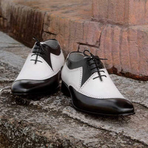 Men's Leather White Black Casual Lace Up Shoes - leathersguru