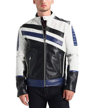 Load image into Gallery viewer, Men's Genuine Lambskin Leather Navy White Classic Jacket - leathersguru