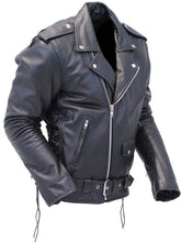 Load image into Gallery viewer, Men's Black Zipper Classical Real Leather Motorcycle Biker Jacket - leathersguru