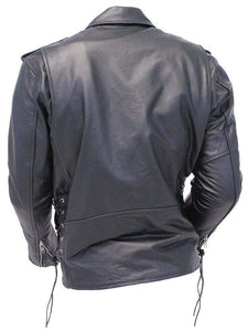Men's Black Zipper Classical Real Leather Motorcycle Biker Jacket - leathersguru
