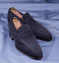 Load image into Gallery viewer, Bespoke Navy Blue Suede Penny Loafer Shoes for Men - leathersguru