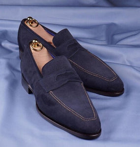 Bespoke Navy Blue Suede Penny Loafer Shoes for Men - leathersguru