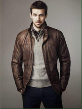 Load image into Gallery viewer, Handmade Brown Color Stylish Leather Casual Jacket - leathersguru