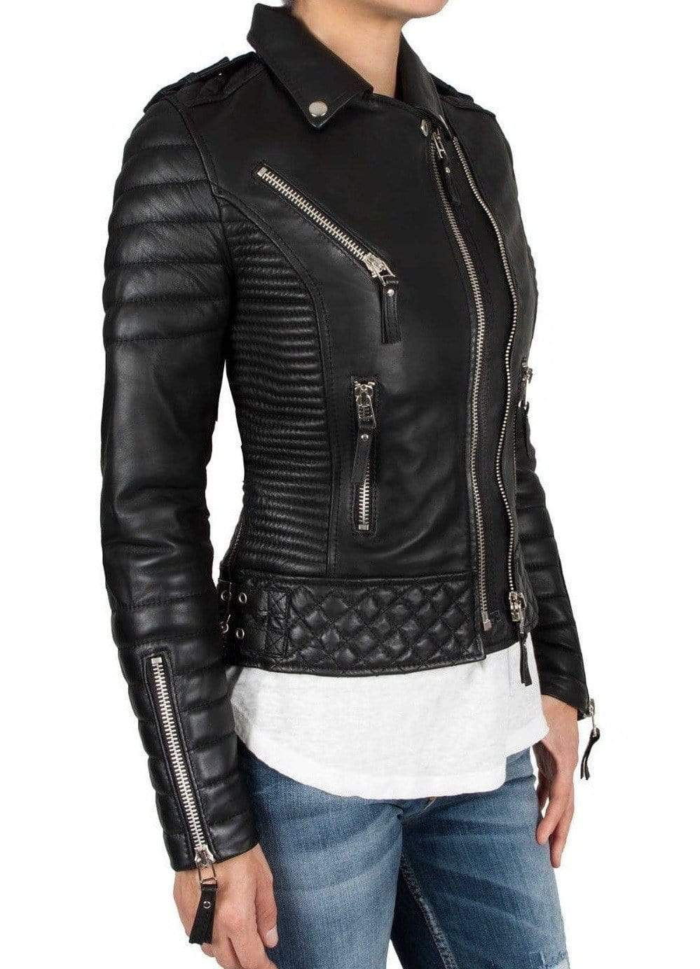 Handmade Leather Skin Women Black Padded Brando Leather Jacket - leathersguru