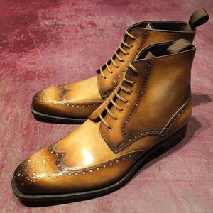 Handmade Tan Leather Wing Tip Brogue Boot - leathersguru